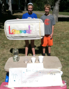Some students do their service learning off-site. Eva and Sean Deegan held a lemonade sale over their summer break to raise money for CMC programs.